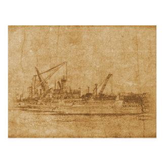 Cartão Postal Desenho do vintage do porto marítimo