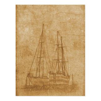 Cartão Postal Desenho do vintage do yacht club