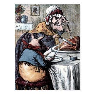 Cartão Postal Desenho do vintage: Pouco presunto leitão comer