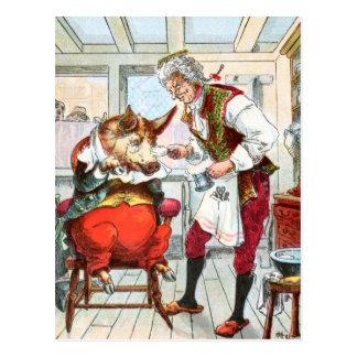 Cartão Postal Desenho do vintage: Shave do barbeiro um porco