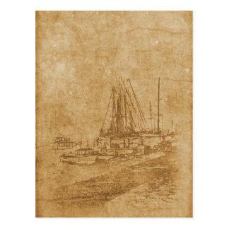 Cartão Postal Desenho do yacht club no estilo do vintage