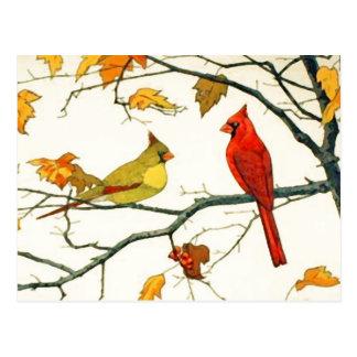 Cartão Postal Desenho japonês do vintage, cardeais em um ramo