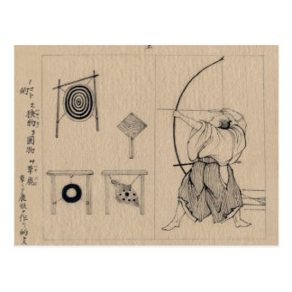 Cartão Postal Desenho japonês surpreendente do arqueiro cerca de