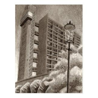 Cartão Postal Desenho original da torre de Trellick