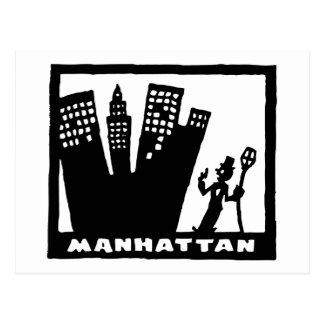 Cartão Postal Desenho preto e branco retro de Manhattan