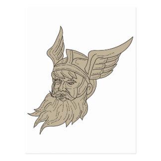 Cartão Postal Desenho principal de Odin do deus dos noruegueses