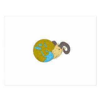 Cartão Postal Desenho principal do globo de Médio Oriente da ram