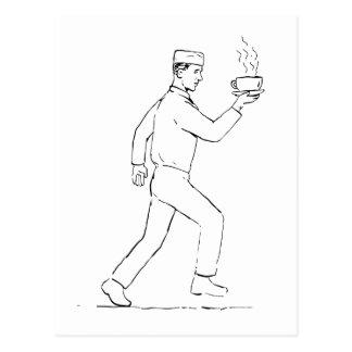 Cartão Postal Desenho Running do café do serviço do garçom retro
