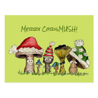 Cartão Postal Desenhos animados alegres dos cogumelos do Natal