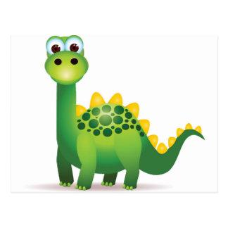 Cartão Postal Desenhos animados bonitos do dinossauro verde