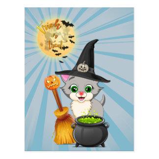 Cartão Postal Desenhos animados cinzentos do Dia das Bruxas do