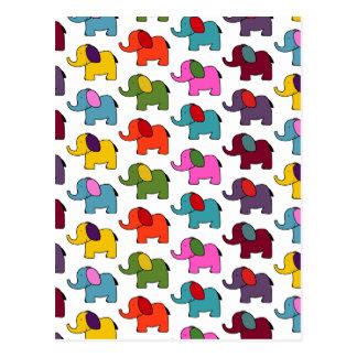 Cartão Postal Desenhos animados coloridos bonitos do elefante