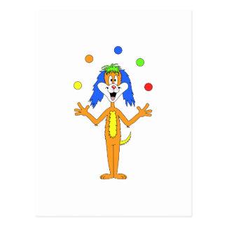 Cartão Postal Desenhos animados coloridos brilhantes do cão do