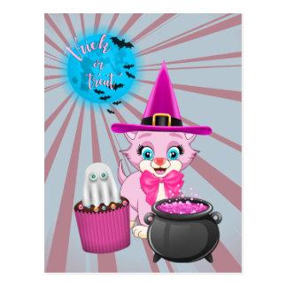 Cartão Postal Desenhos animados cor-de-rosa do Dia das Bruxas do