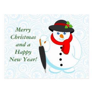 Cartão Postal Desenhos animados de um boneco de neve, de um
