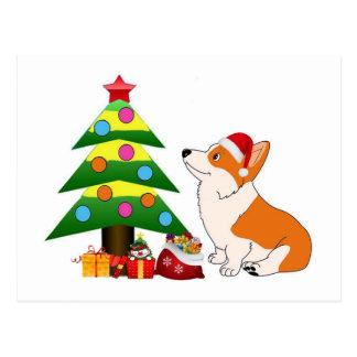 Cartão Postal Desenhos animados do Corgi do feriado com árvore