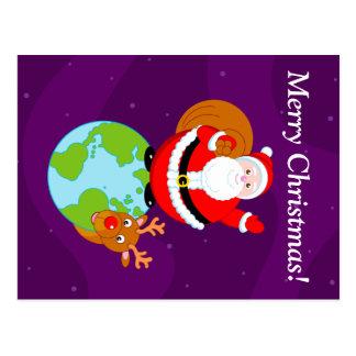 Cartão Postal Desenhos animados do divertimento de Papai Noel