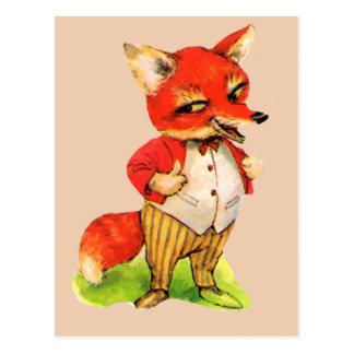 Cartão Postal Desenhos animados do Fox do vintage inteligentes