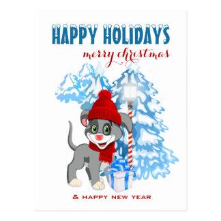 Cartão Postal Desenhos animados do Natal do filhote de cachorro