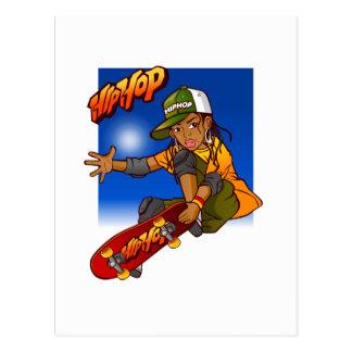 Cartão Postal Desenhos animados do skate da menina de Hip Hop
