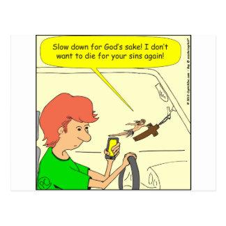 Cartão Postal Desenhos animados do slow down de 476 Jesus