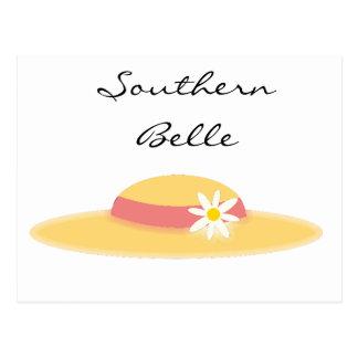 Cartão Postal Desenhos animados do sul do Belle do chapéu da