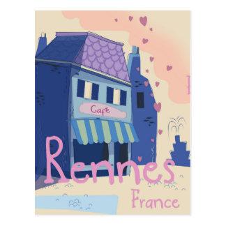 Cartão Postal Desenhos animados do vintage de Rennes France