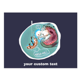 Cartão Postal desenhos animados engraçados da minhoca útil do