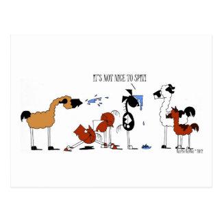Cartão Postal Desenhos animados engraçados do cavalo & do lama