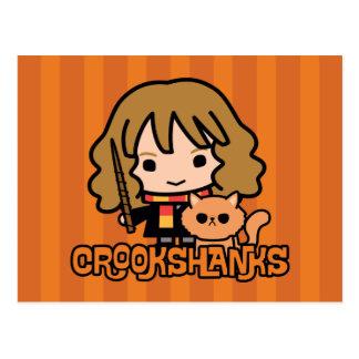 Cartão Postal Desenhos animados Hermione e Crookshanks