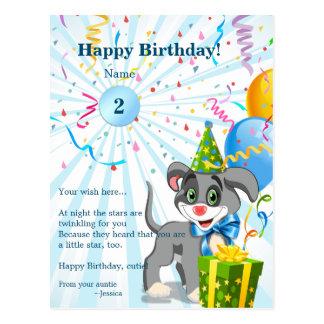 Cartão Postal Desenhos animados personalizados do filhote de