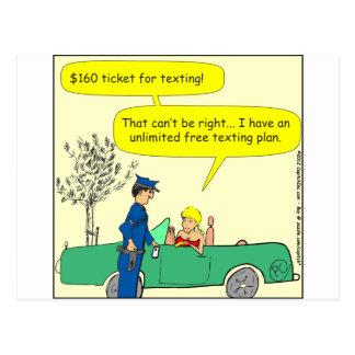 Cartão Postal Desenhos animados texting livres da cor do bilhete