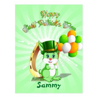 Cartão Postal Desenhos animados verdes do coelho de Patrick de