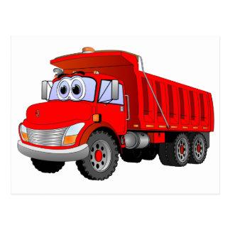 Cartão Postal Desenhos animados vermelhos do camião basculante