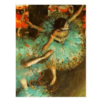 Cartão Postal Desgaseifique o impressionista verde do balé do