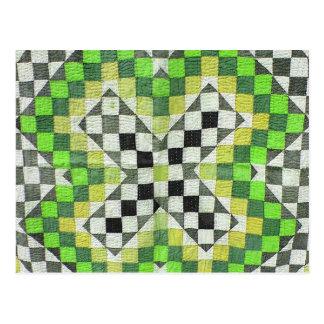 Cartão Postal Design 1-Green da edredão de Ralli do vintage