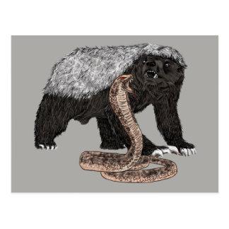 Cartão Postal Design animal sem medo do cobra das caras do