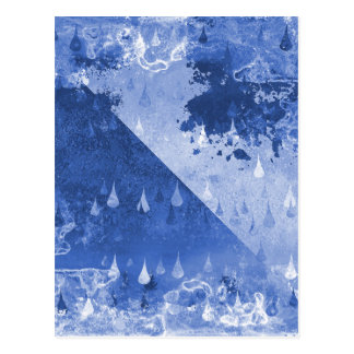 Cartão Postal Design azul abstrato das gotas da chuva