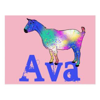 Cartão Postal Design azul da cabra da arte abstracta com seu