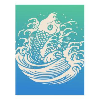 Cartão Postal Design azul do vintage dos peixes japoneses de Koi