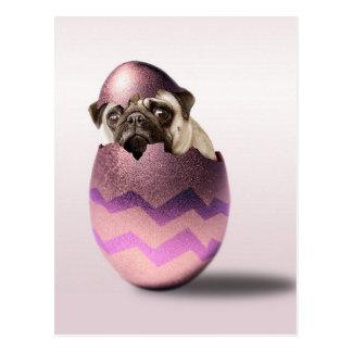 Cartão Postal Design bonito do ovo da páscoa do Pug