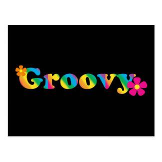 Cartão Postal Design brilhante Groovy e das flores das cores 60s