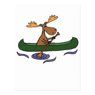 Cartão Postal Design Canoeing dos alces engraçados