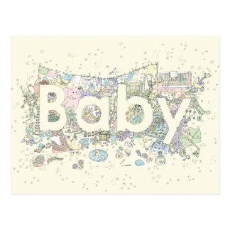 Cartão Postal Design colorido engraçado da arte da palavra do
