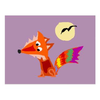 Cartão Postal Design colorido Funky da arte do Fox vermelho