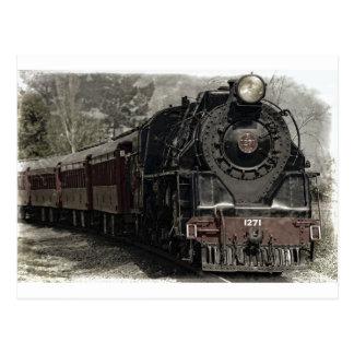 Cartão Postal Design da decoração do trem do vintage