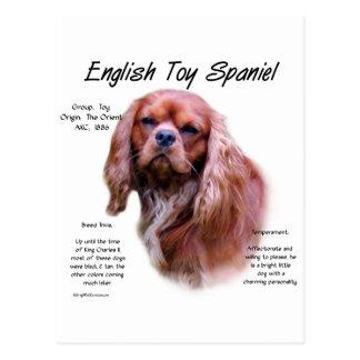 Cartão Postal Design da história do Spaniel de brinquedo inglês
