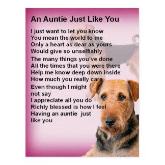 Cartão Postal Design de Airedale Terrier - poema do Auntie