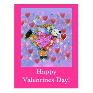 Cartão Postal Design de dança dos corações do urso