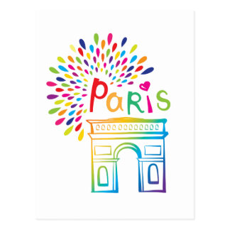 Cartão Postal Design de néon de Paris France | Arco do Triunfo |